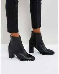 AllSaints - Black Studded Ankle Boots - Lyst