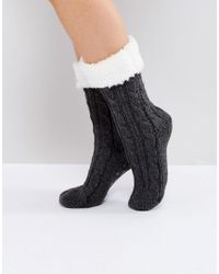 ASOS - Gray Cable Lounge Socks With Fleece Top - Lyst