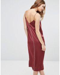 ASOS - Purple Drape Front Cami Midi With Zip Back Dress - Lyst