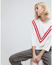 Stradivarius - White Oversized Tee With Embellished Arm - Lyst