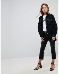 ONLY - Black Oversized Studded Denim Overshirt - Lyst