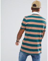 ASOS Green Longline Stripe Rugby Polo Shirt for men