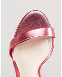 Steve Madden - Stecy Metallic Pink Barely There Heeled Sandals - Lyst