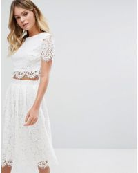 edc4733bfad New Look Lace Scallop Top Co-ord in White - Lyst