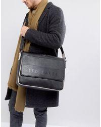 Ted Baker - Black Embossed Yerwot Messenger Bag for Men - Lyst