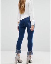 Boohoo | Blue Ultra Frayed Hem Skinny Jeans | Lyst