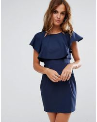 ASOS - Blue Asos Double Layer Mini Wiggle Dress With Angel Sleeve - Lyst