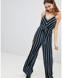 2bceb9b130cd New Look Stripe Strappy Jumpsuit in Blue - Lyst