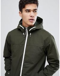 Jack & Jones - Green Originals Lightweight Hooded Jacket With Contrast Zip for Men - Lyst