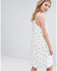 Vila - White Dove Print Cami Mini Dress - Lyst