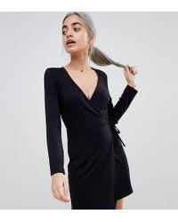 ASOS - Black Asos Design Petite Mini Wrap Dress With Long Sleeve - Lyst
