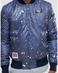 Abuze London - Blue Splatter Patch Ma1 Bomber Jacket for Men - Lyst