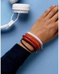 ASOS - Bracelet Pack With Metalic Beads In Red for Men - Lyst