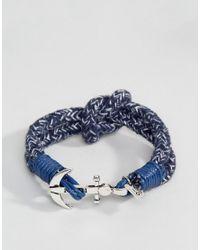 Icon Brand | Blue Anchor Stripe Woven Bracelet In Navy for Men | Lyst