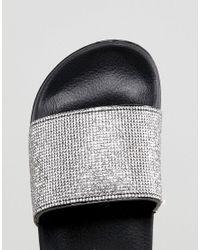 Truffle Collection - Metallic Wide Fit Diamante Slider - Lyst