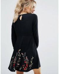 New Look - Black Floral Embroidered Skater Dress - Lyst