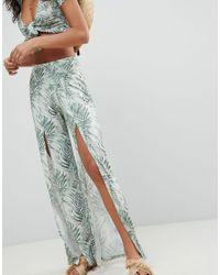 ASOS - Multicolor Tropical Print Split Front Beach Co Ord Trouser - Lyst