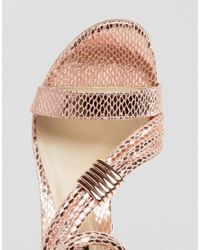 Forever Unique - Multicolor Metallic Cross Strap Heeled Sandal - Lyst