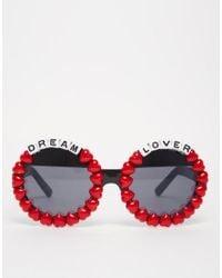 Rad & Refined - Multicolor Rad + Refined Dream Lover Round Sunglasses With Red Hearts - Lyst