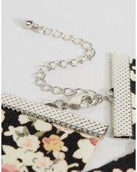 ASOS - Black Floral Choker Necklace - Lyst