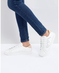 Emporio Armani - White Punch Hole Eagle Logo Low Top Lace Up Sneaker - Lyst