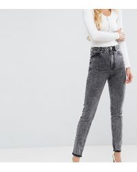 ASOS - Farleigh High Waist Slim Mom Jeans In Moon Black Acid Wash With Busted Knees - Lyst