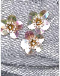 ASOS - Metallic Glitter Sock With Flower Embellishment - Lyst