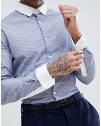 ASOS - Gray Smart Stretch Slim Stripe Shirt With Contrast Collar And Double Cuffs for Men - Lyst