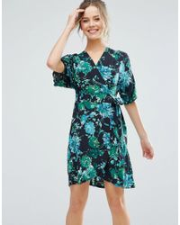 cd09390b55e Lyst - Closet Tropical Print Short Sleeve Skater Dress in Black