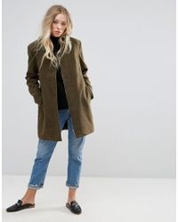 B.Young - Green Funnel Neck Coat - Lyst