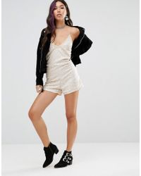 Motel | Natural Cami Romper With Scoop Back In Sequin | Lyst