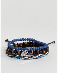 Classics 77 - Black Bead & Cord Bracelet In 3 Pack for Men - Lyst