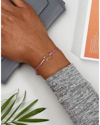 Dogeared - Metallic Gold Plated Friendship Linked Ring Silk Adjustable Bracelet - Lyst