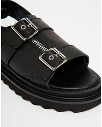 UNIF - Bab Black Buckled Sandals - Lyst