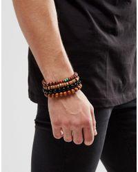 ASOS - Black Beaded Bracelet Pack In Brown for Men - Lyst