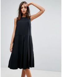 YMC   Black Pleat Wool Blend Dress   Lyst