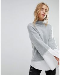 Urban Bliss - Gray High Neck Knit With Shirting - Lyst