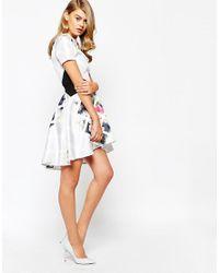 True Violet - Blue Printed High Low Skater Dress - Lyst