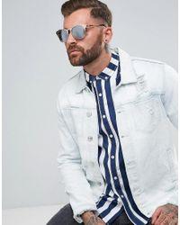 ASOS - Metallic Retro Sunglasses In Rose Gold for Men - Lyst