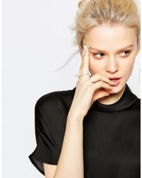 Monki | Metallic 3-pack Rings With Pearls | Lyst