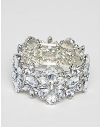 True Decadence - Metallic True Decadance Silver Embellished Diamante Bracelet - Lyst