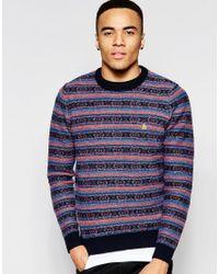 Original Penguin | Blue Striped Wool Knitted Jumper for Men | Lyst