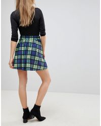 ASOS DESIGN - Blue Asos Mini Skirt With Box Pleats In Check - Lyst