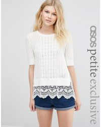 ASOS - Multicolor Jumper In Pointelle With Crochet Trim - Lyst