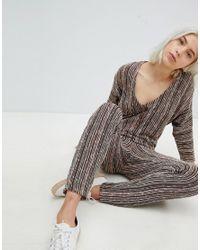 Pull&Bear - Gray Fine Knit Jumpsuit - Lyst