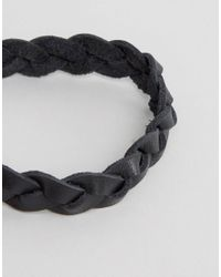 ASOS - Plaited Leather Bracelet In Black for Men - Lyst