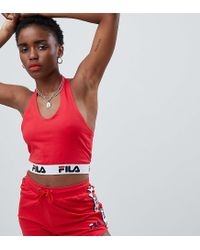 56e7583241a Fila Halter Neck Crop Top With Logo Tape Two-piece in Red - Lyst