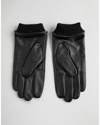 Barney's Originals - Black Gants en cuir avec poignet ornement for Men - Lyst