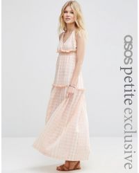 ASOS | Pink Premium Beach Maxi Dress With High Neck | Lyst