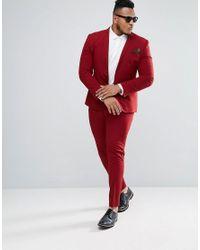 ASOS - Plus Super Skinny Suit Jacket In Red for Men - Lyst